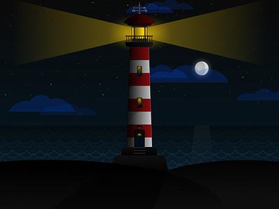 The Lighthouse light sea lighthouse dark vectors illustration gravit designer gravitapp gravit