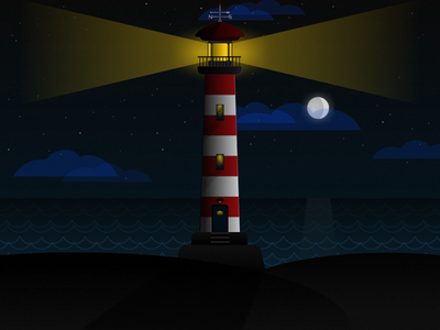 The Lighthouse light sea lighthouse dark vectors illustration gravit designer gravitapp gravit