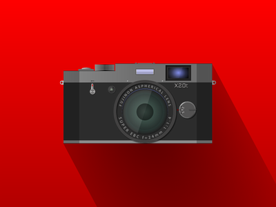 FujiFilm X20t (made in Gravit Designer) semi-flat flat icon red fujifilm fuji dark vectors illustration gravit designer gravitapp gravit