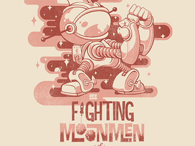 fighting moonmen illustration character space robot design