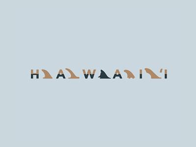 Hawaiian Fins tropical island surf shark surfing fins hawaii typography illustration logo branding identity