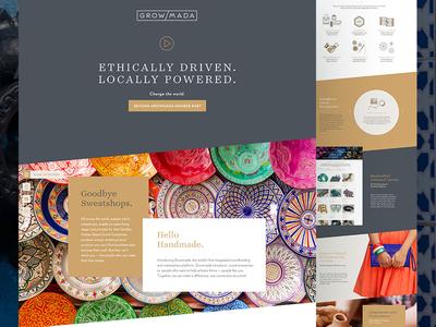 Growmada Website shopping ethical icons layered slanted branding website growmada
