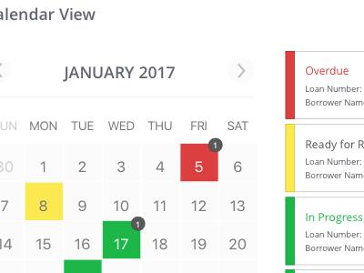 Calendar View and Status