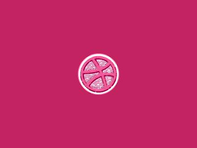 Dribbble Sticker lines emblem mark ball pink dribbble sticker sticker dribbble