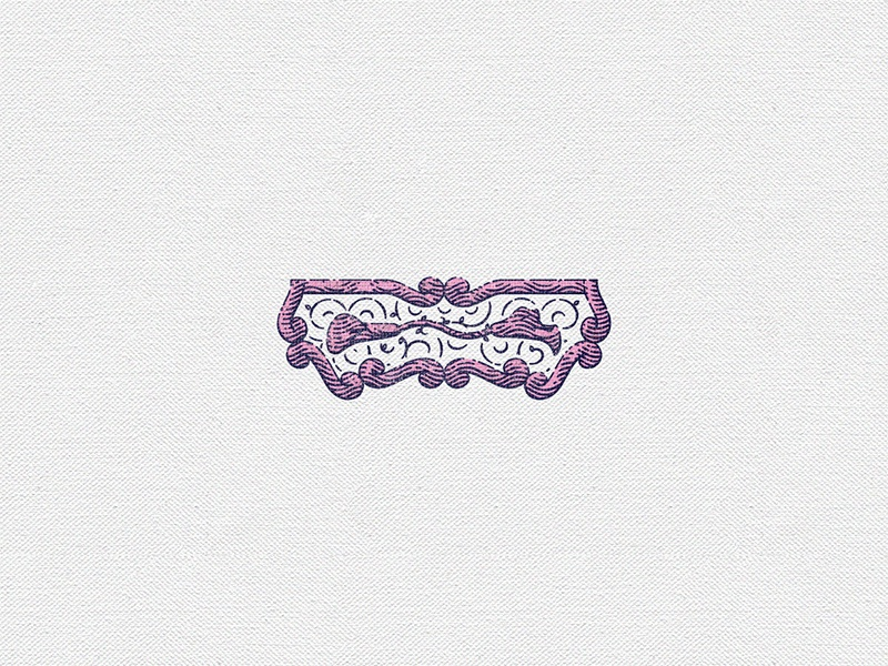 Flower Cartouche shading vintage keyline pink ornamental border graphic illustration cartouche flower