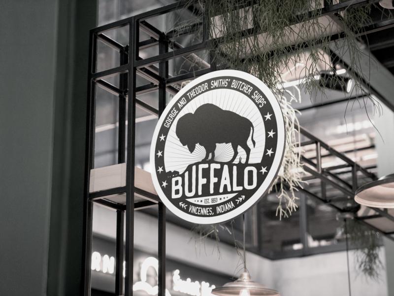 'BUFFALO' Butcher shop logo bull butcher vintage logo