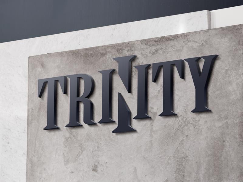 'Trinity' logo serif negative space typography logo