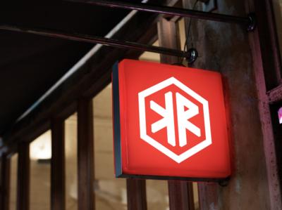 'K Roof' hookah bar logo lounge shisha hookah bar hexagon logo