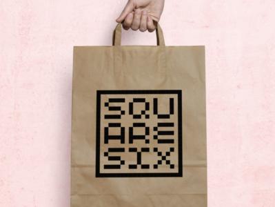 'Square Six' shop logo shop clothes square pixel logo