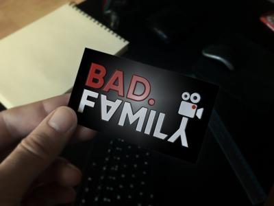 'Bad.Family' production logo business card movie camera crew production video bold logo
