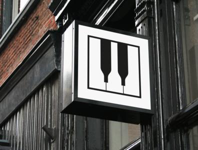 'Wiano' bar logo square keys bar piano wine music logo