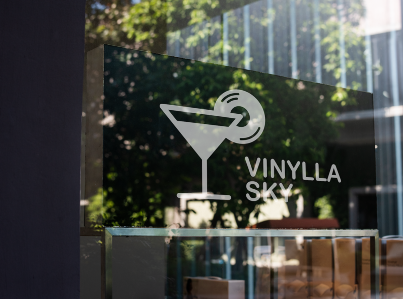 'Vinylla Sky' bar logo music lounge cocktail vinyl bar logo