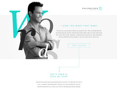 Paul Walden Copywritter web one page design uiux webdesign
