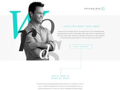 Paul Walden Copywritter web one page design uiux webdesign