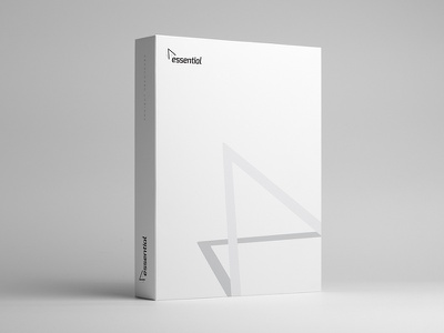 Essential Services box white clean logo branding packaging