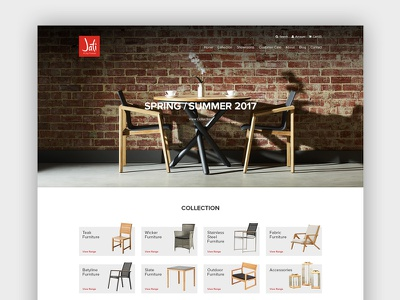 Jati Furniture Website - Home Page web design ux ui australia melbourne furniture ecommerce