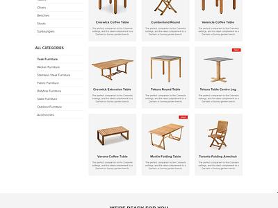 Jati Furniture Website - Category Page web design ux ui australia melbourne furniture ecommerce