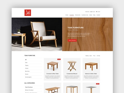 Jati Furniture Website - Category Page web design ux ui australia melbourne furniture ecommerce