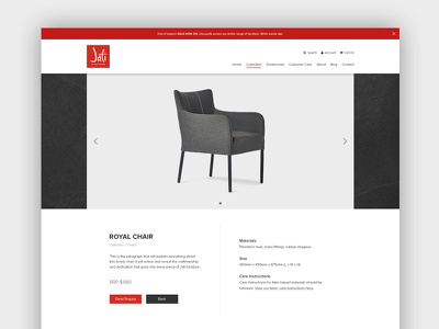 Jati Furniture Website - Product Page web design ux ui australia melbourne furniture ecommerce
