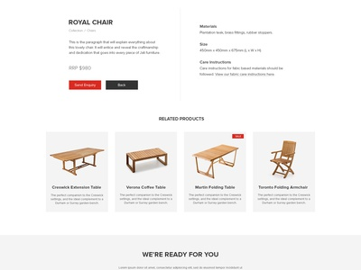 Jati Furniture Website - Product Page web design ux ui australia melbourne furniture ecommerce
