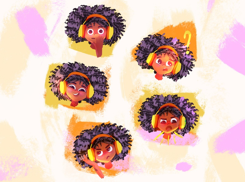 Mood confused surprised annoyed angry happy emotions curls big hair funky girl mood visual development kidlit art illustration character development childrens book digital art characterdesign childrens illustration