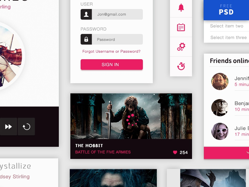 Crystallize Free Material Ui Kit freebie psd free interface material design kit ui