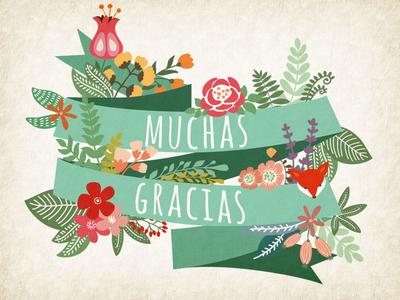 Garden Of Gracias floral spring green pastel thank you gracias