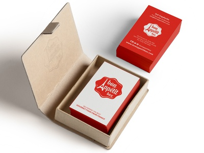 Business Cards for Bon Appétit Box business cards business card design branding red french