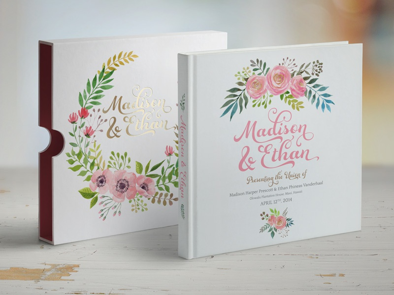 Branded Photo Book album book wedding photography graphic design illustration floral pink packaging gold foil pretty fancy