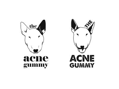 """""""The Acne Gummy"""" logo comps pop art urban design dermatology dogs logo design branding logo design bull terrier"""