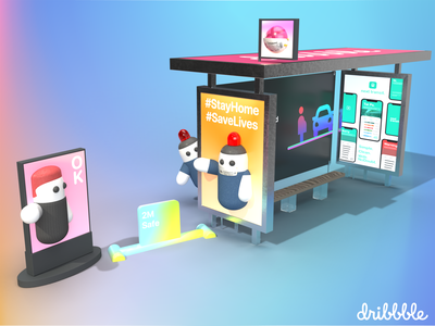 #StayHomeSaveLives Mark II me you healthcare health 4d 2020 shot hello character 3d illustration savelives stayhome invite dribbble design