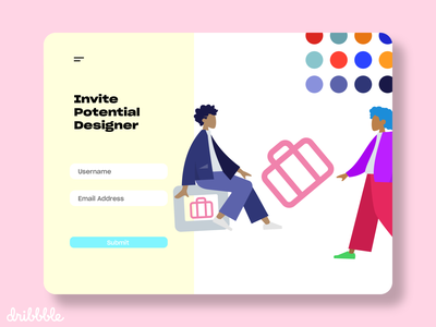 Invite Potential Designer illustration shot website ui ux hello trend 2020 dribbble invite design