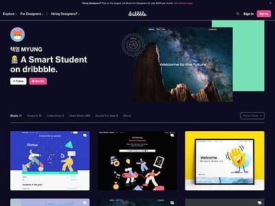 dribbble Profile Dark Blue Theme (2020) 2d ui website shot invite branding blue dark mode 2020 dribbble design