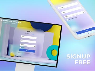 SignUp Form #CreateWithAdobeXD ux branding ui website shot invite design dribbble 2020