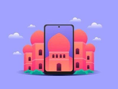 Flat mosque app illustrator icon vector typography branding illustration food muslim illustration art mosque flat illustraion