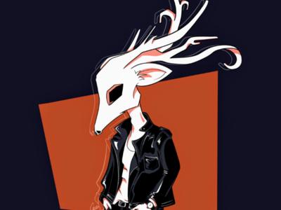 Leather Skull guy apple pencil jacket procreate leather skull digital illustration