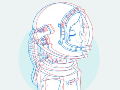 Space Girl 👩🚀🌠 apple pencil procreate digital space girl illustration girl space