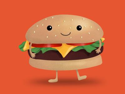 Don Hamburguesa 🍔 kawaii digital art illustration digital hamburger