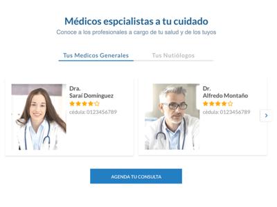 Médicos especialistas cards website health white minimal clean medic tabs landing desk doctor
