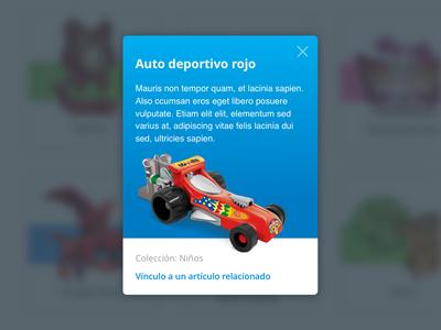 Card Sorpresa overlay color kids car toy web responsive design card ui