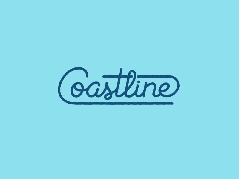 Coastline Lettering monoline water wave coastline brush custom lettering hand script branding logo