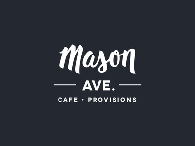 Mason Ave. Branding handletter shop coffee provisions cafe script identity logo branding lettering