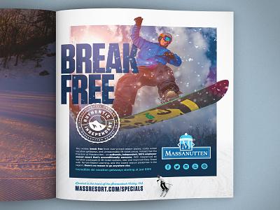 Massanutten Resort - BREAK FREE resort winter skiing snowboarding layoutdesign layout printad advertising print typography