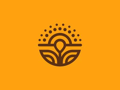 Sunny Bloom Logo geometric nature sun flower thick lines icon branding brand logo