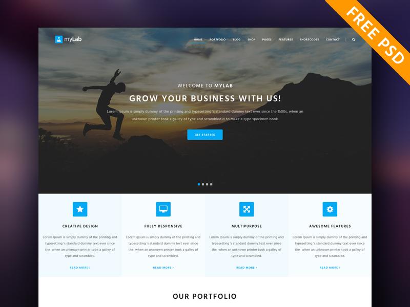F R E E Responsive Template | myLab Free PSD portfolio free gui free ui responsive template free psd free