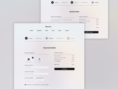 Payment Details gradient review order payment creditcard credit card ecommerce webdesign order