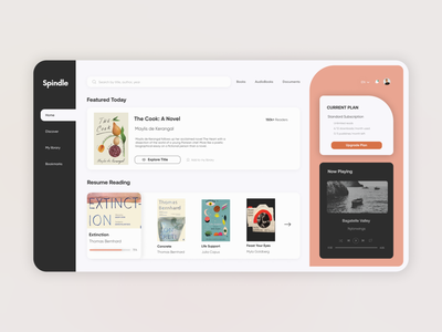 Online Digital Library - Dashboard music player ebooks homepage dashboard online library reading books web app