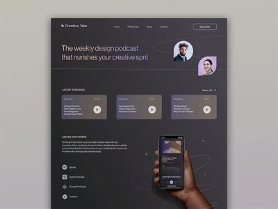 Creative Podcast Website Concept web desktop design webpage listening podcast website player audio radio streaming spotify podcast dark modern landing page uiux design ux ui