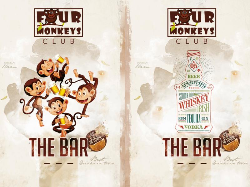 Monkeys Cheer - Four Monkeys Club logo ui ux art illustrator vector illustration branding typography design