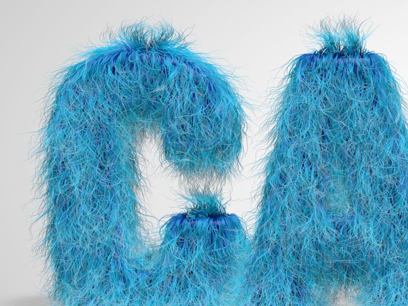 Blue Fuzzy Type cinema4d